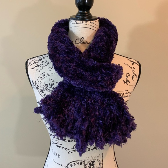 the scarf shop UK Accessories - Atmosphere Deep Purple Fluffy Scarf from England